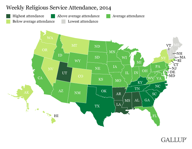 Gallup's U.S. map of weekly religious service attendance