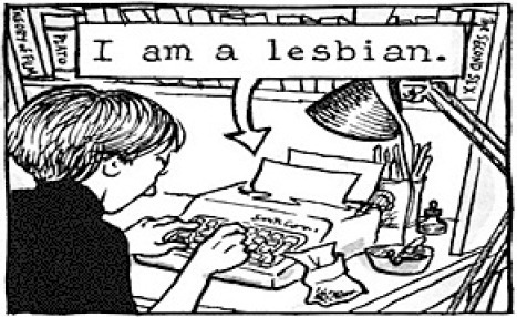 Lesbian comic from Alison Bechdel's FUN HOME